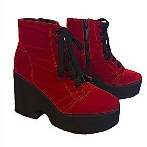 Iron Fist Red Faux Suede Platform Heel Boots